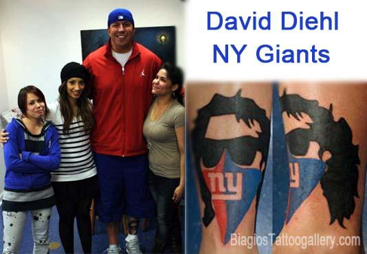 Biagio tattooed David Diehl NY Giant.